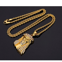 Mens Iced Out Jesus Pendant With Perfect Rope Chain Gold Tone Jesus Head Pendants Necklace Hip