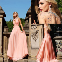 New Arrival 2015 Vestido De Fiesta Top Fashion Crystal Peach Long Prom Dress With Sexy Evening Dresses Open Back