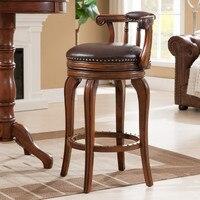 Европейский стиль барный стул кожаный табурет Европейский твердый деревянный барный табурет высокий поворотный стул