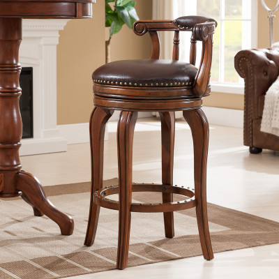 European Style Bar Chair Leather Stool Solid Wood High Swivel