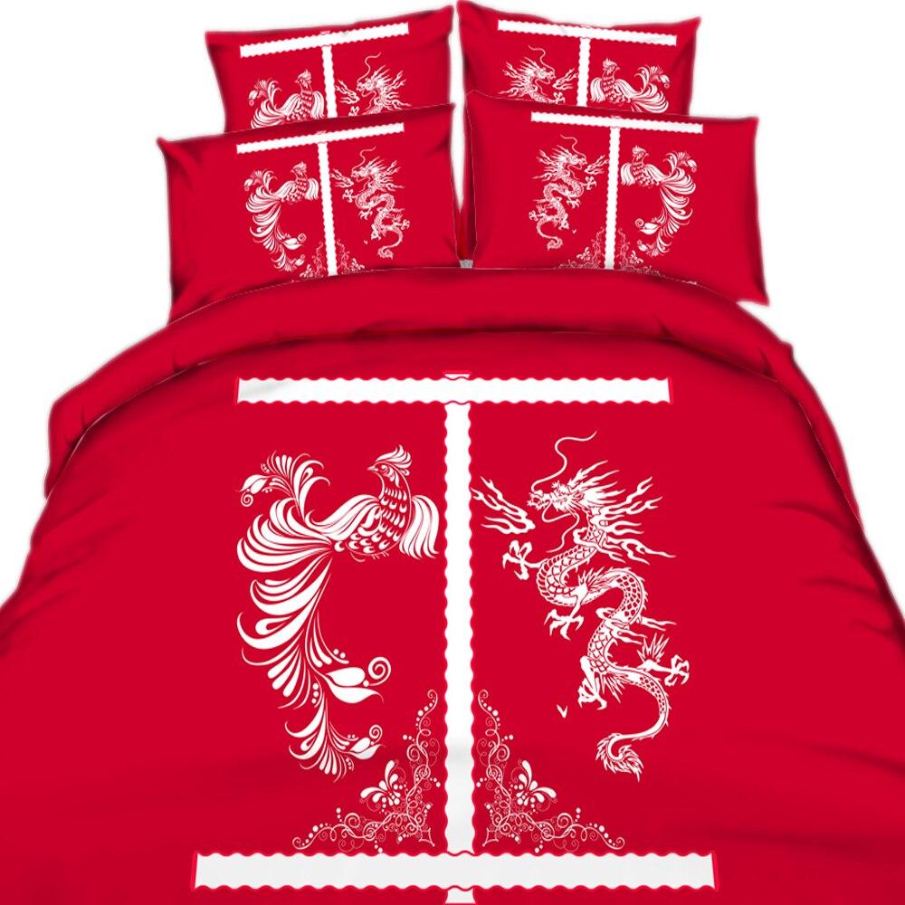 Ensembles de literie de mariage traditionnel de Style chinois 3/4 pièces imprimé motif Dragon et Phoenix housse de couette/housse de couette de haute qualité