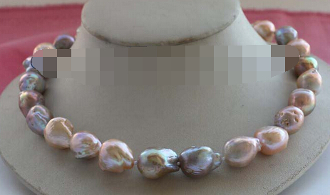xiuli 003525 Natural 19mm Multicolor Baroque Edison Reborn Keshi Pearl Necklace 14KGP цена