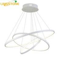 Современные светодиодные люстры с удаленным Управление Алюминий блеск кольцо лампы для Гостиная Спальня Ресторан Кухня светильники