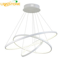 Modern Led Chandelier Lighting With Remote Control Aluminum Lustre Ring Lamp For Living Room Bedroom Restaurant Kitchen Fixtures(China)