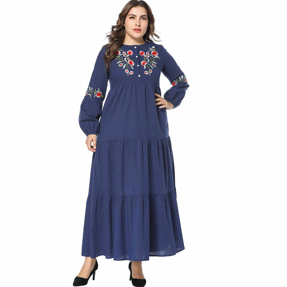 Женское модное платье Осенняя Лоскутная Абая, для мусульман вышивка кафтан ислам Дубаи абайя s платья с длинными рукавами синий vestidos 4XL