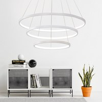 40CM 60CM 80CM Modern Pendant Lights For Living Room Dining Room Circle Rings Acrylic Aluminum Body LED Ceiling Lamp Fixture