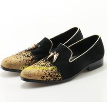Queda Ouro Limitou Rodada Toe Deslizamento Em Design de Luxo Homens Mocassins Flats Heel Praça Spatoas Mujer pimentão Decoração de Metal Duplo sapatos