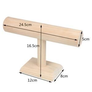 Image 3 - 1Pcs עץ צמיד שרשרת שעון בעל T בר rack תכשיטי תצוגה ארגונית stand מחזיק Packgaing מדף
