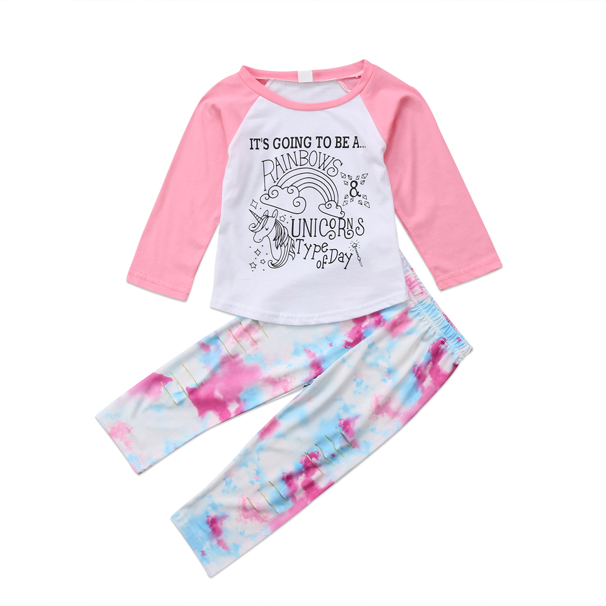 2017 Unicorn Kids Baby Girls Cute Anime Outfits Clothes T ...