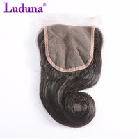 Luduna Brazilian Loose Wave Free Part 4x4 Lace Closure Non-remy Human Hair Bundles Natural Color Free Shipping