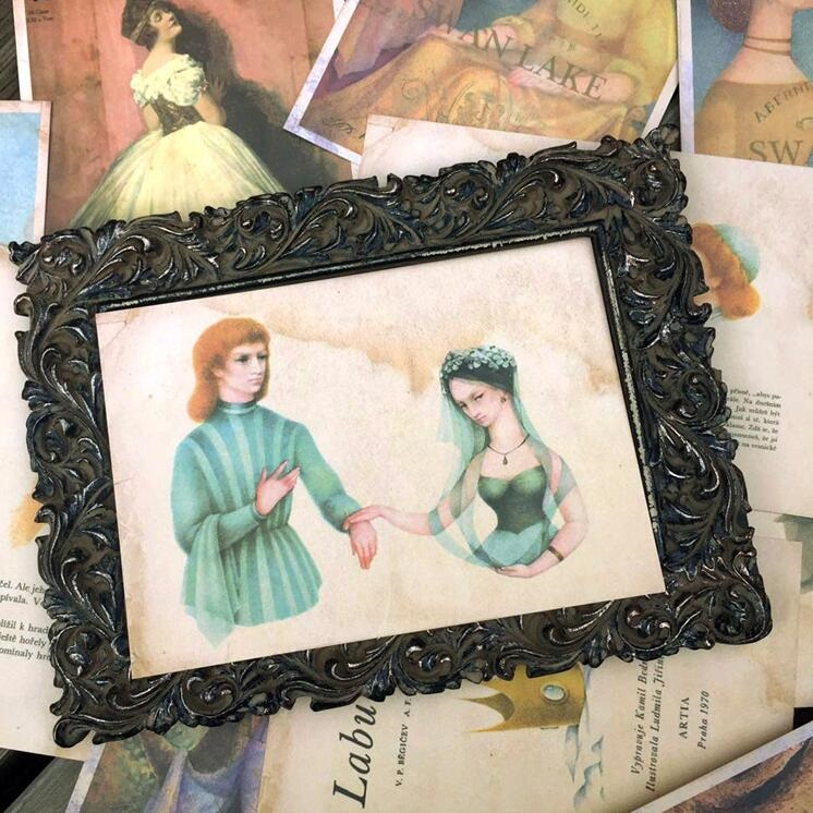 16pcs/pack/lot NEW Students DIY gift cards set Vintage Oil Painting Romantic Swan Lake postcard Nice Bookmark card collection