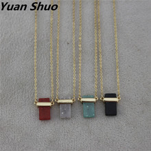 2019 foreign trade jewelry wholesale fashion simple red/blue/black/white square natural stone pendant necklace sweater chain