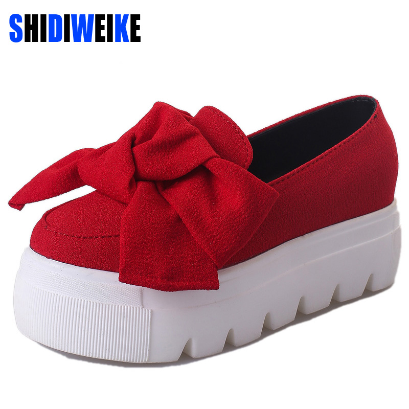 Spring moccasin Womens Fashion Creepers Shoes Bow Women Flats Loafers Ladies Slip On Platform 5CM Shoes 2018 slipony b520