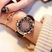 Luxury Brand Golden Watches Women Starry Rhinestone Flower Quartz Ladies Creative Wristwatches Leather Strap Crystal