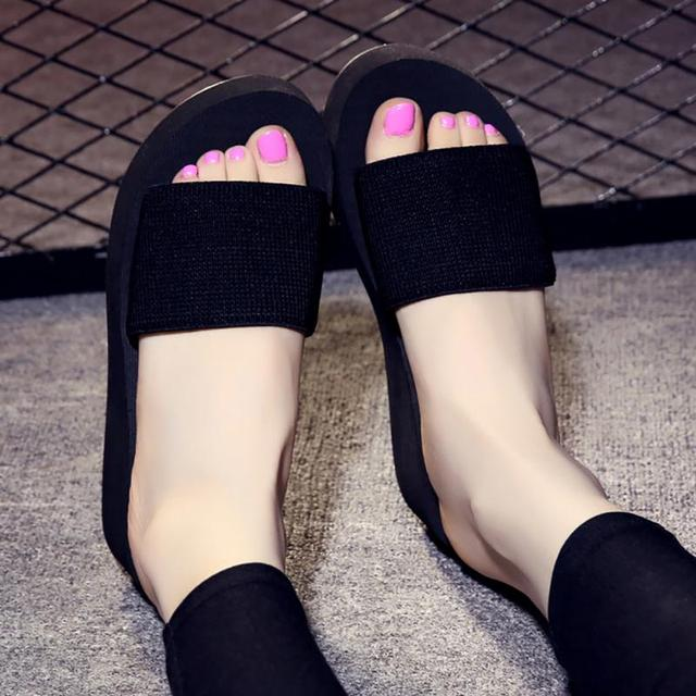 Platform bath slippers Wedge Beach Flip Flops High Heel Slippers For Women Brand Black EVA Ladies Shoes 2