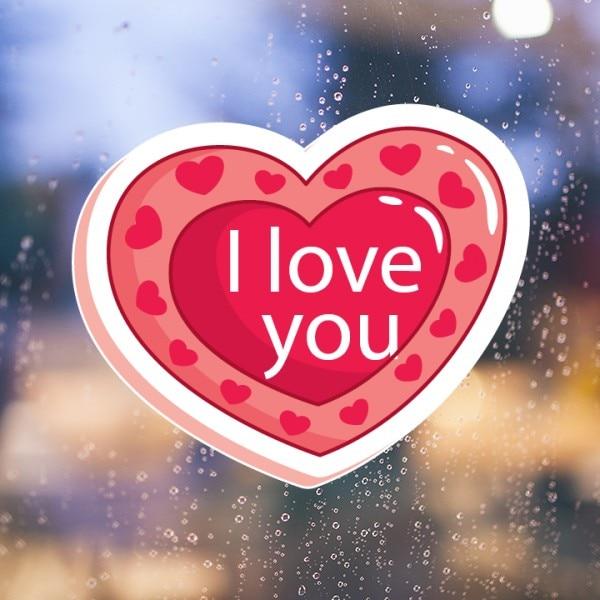 Valentinstag Rosa Doppelschichten Herzförmige Ich Liebe Dich Muster  Entfernbare Wandaufkleber Kunst Decals Tapete Für Zimmer Aufkleber In  Valentinstag Rosa ...