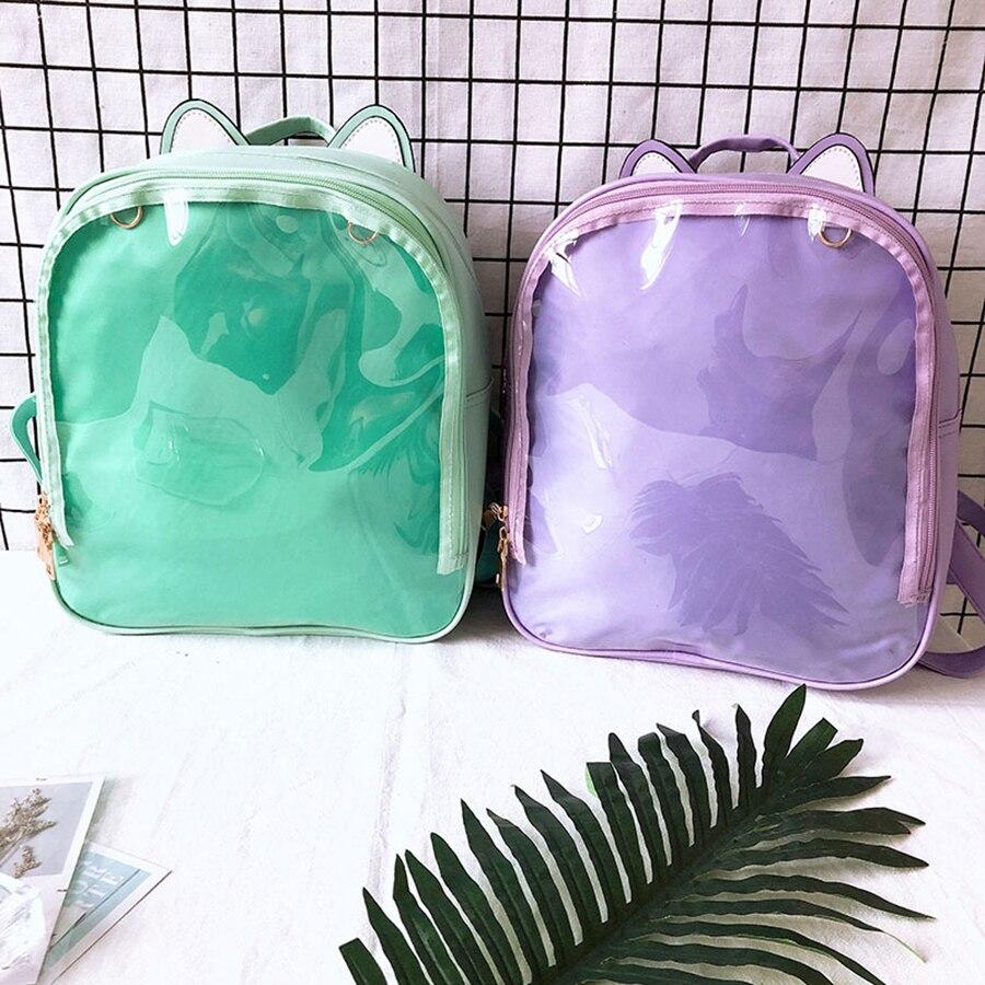 Clear Transparent Backpacks Women Cute Cat Ears Ita Bookbags Women Candy Clear Jelly School Bags For Teenage Girls SchoolBag New
