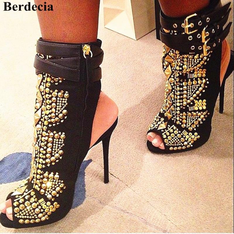 Spring New Gold Embellished Rivets Studded Ankle Bootie -7115