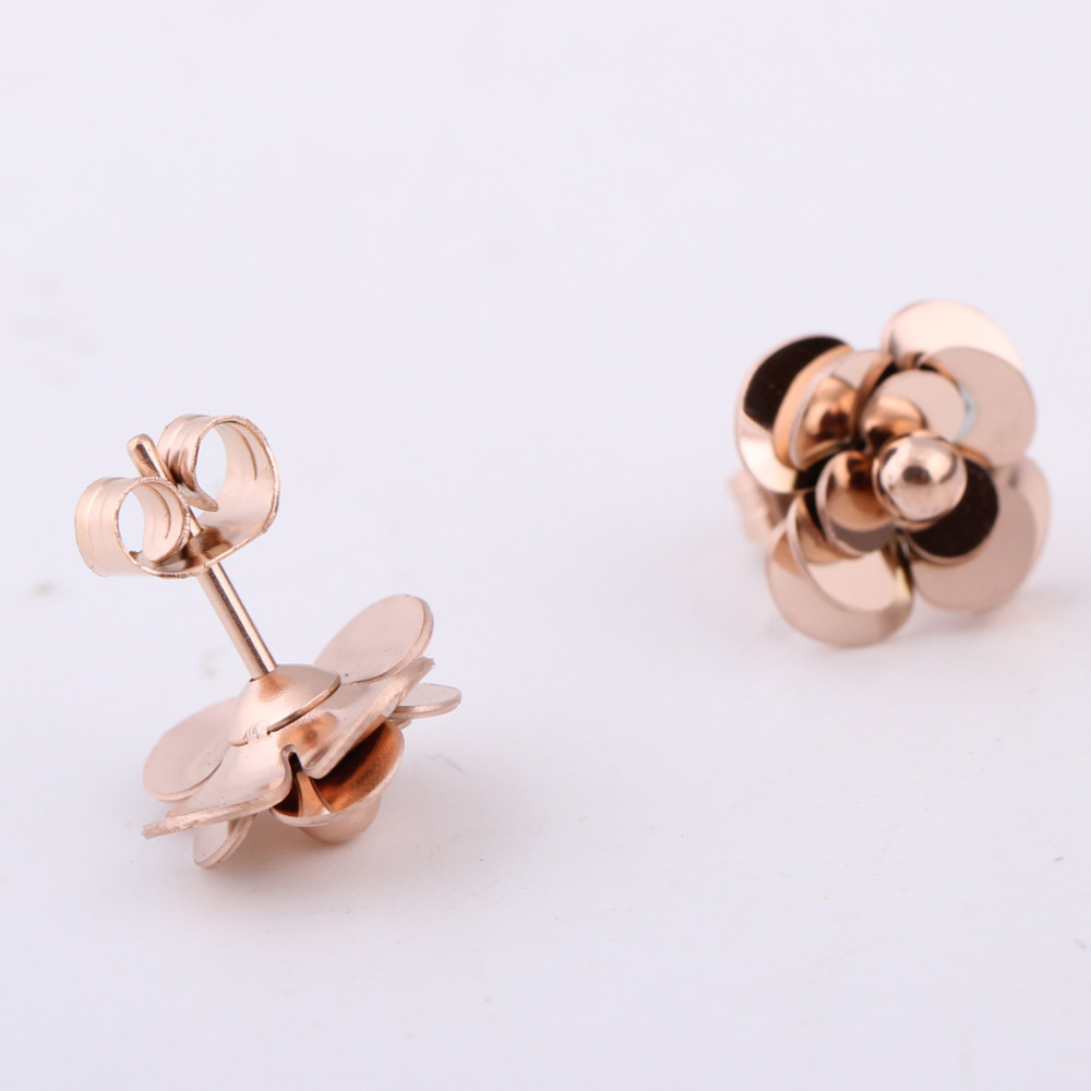 Fashion Women Earrings 316LStainless Steel Rose Gold Flower Stud Earrings 11