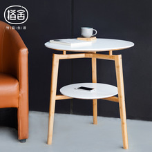 ZEN S BAMBOO Round Tea Table Double Layer Coffee Table Wooden Bamboo Table Flower Stool Living