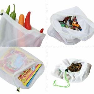 Image 5 - 1PC przyjazne dla środowiska siatka wielokrotnego użytku torby z siatki przezroczyste zmywalny sklep spożywczy worki siatkowe do przechowywania owoców warzywa, zabawki rozmaitości
