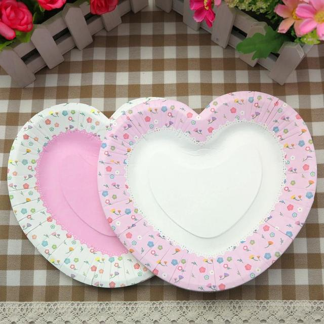 30pcs Heart Pink Cake Disposable Paper Plate For Wedding Fruit Dish Plates Event \u0026 Party Supplies & 30pcs Heart Pink Cake Disposable Paper Plate For Wedding Fruit Dish ...