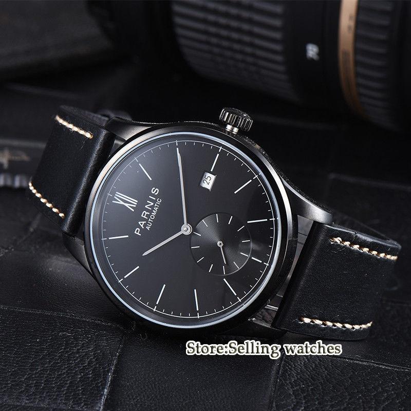 лучшая цена 42mm parnis white dial camel strap date ST 1731 automatic mens watch