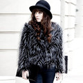 2016 New Fashion Women Slim Fur Coat Jacket Faux Peacock Feather Long-Sleeve O-Neck Overcoat