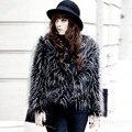 2016 New Fashion Women Slim Fur Coat Jacket Faux Peacock Feather Long-Sleeve O-Neck Overcoat