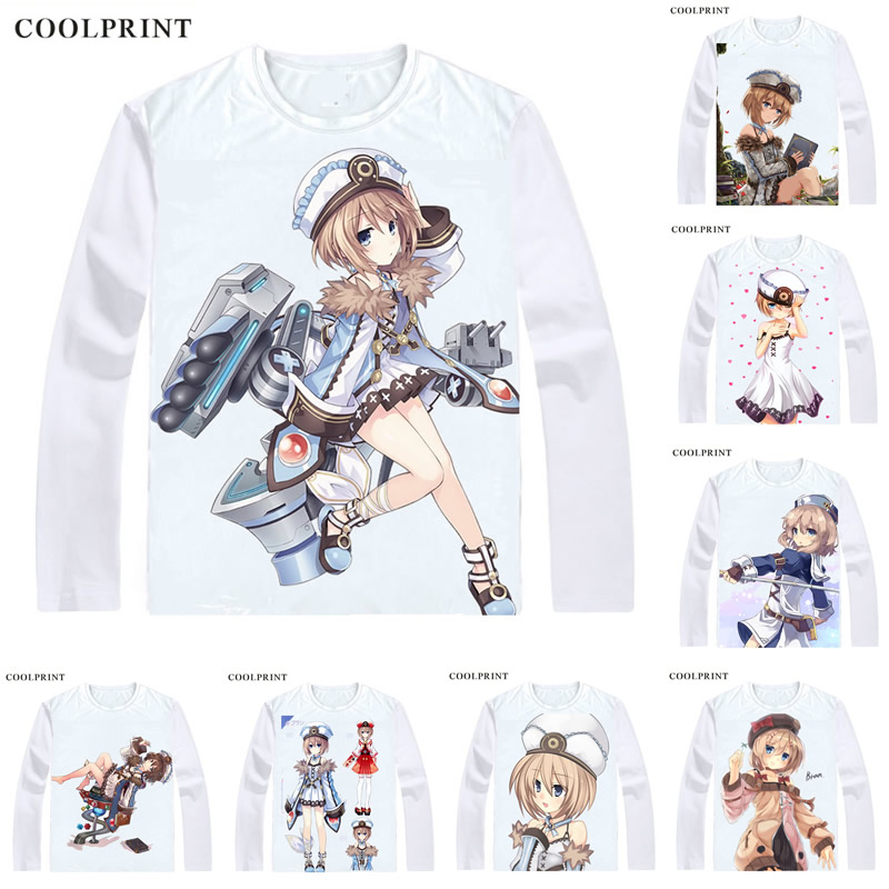 A.K.A. White Heart T Shirt Hyperdimension Neptunia Choujigen Game Blanc T-shirt Casual Vintage TShirt Printed Long Sleeve Shirts