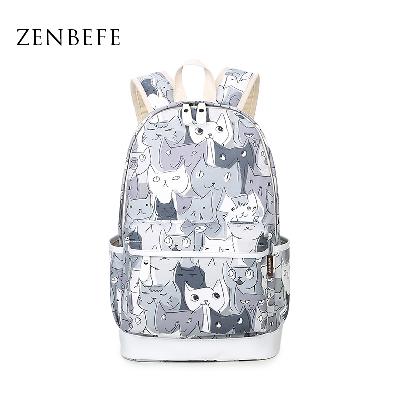ZENBEFE Brand New Cats Printing Backpacks Polyester School Bags For Teenagers Girls Cute School Bag Lady Bookbag Travel Rucksack temptations mixups surfers delight flavor treats for cats pouch mega bag