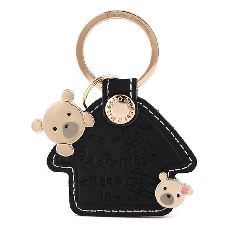 Milesi ტყავის გასაღები ჯაჭვის ბეჭედი ქალის საკიდი ქალის გულსაკიდი საყვარელი დათვი სახლი ფორმის საცურაო მოდის მანქანის გასაღები keychain ხიბლი საჩუქარი გოგონას K0056