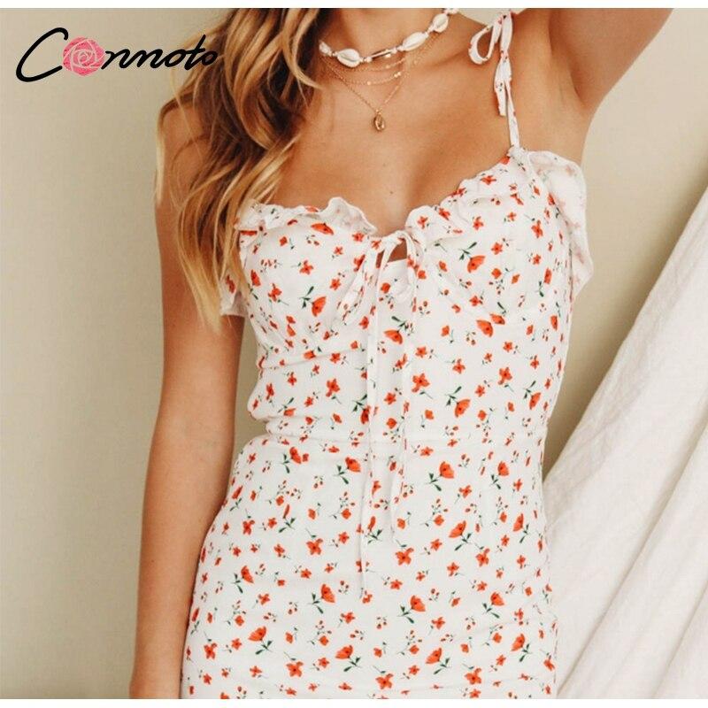 Conmoto Casual Floral Print Short Dress Women 19 Summer Holiday Sexy Beach Chiffon Dress Dress Femme Lace Up Dress Vestidos 11