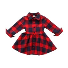 Kids Girls Plaid Dress Long Sleeve Cotton Costume Toddler Clothing Baby