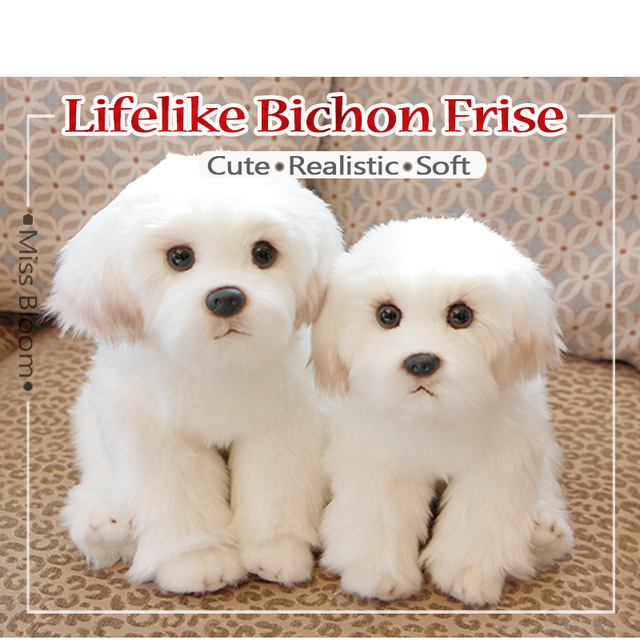 White Bichon Frise Plush Toy Cute Puppy Stuffed Dog Simulation Pet Kawaii Fluffy Baby Doll Birthday Gift for Children Photo Prop