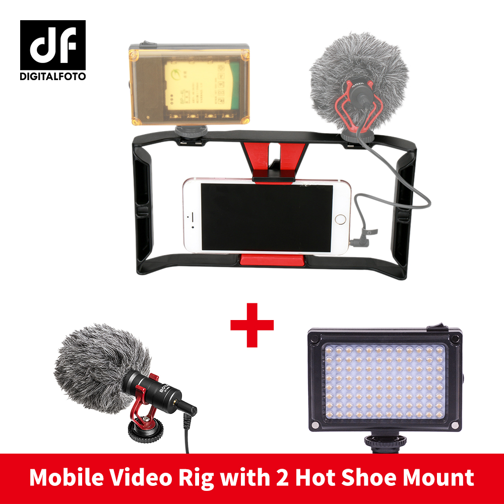 Ulanzi Smartphone Video Handle Rig Filmmaking Mobile Stabilizer Case movie youtube videos/ Selfie Live Broadcast Led Light
