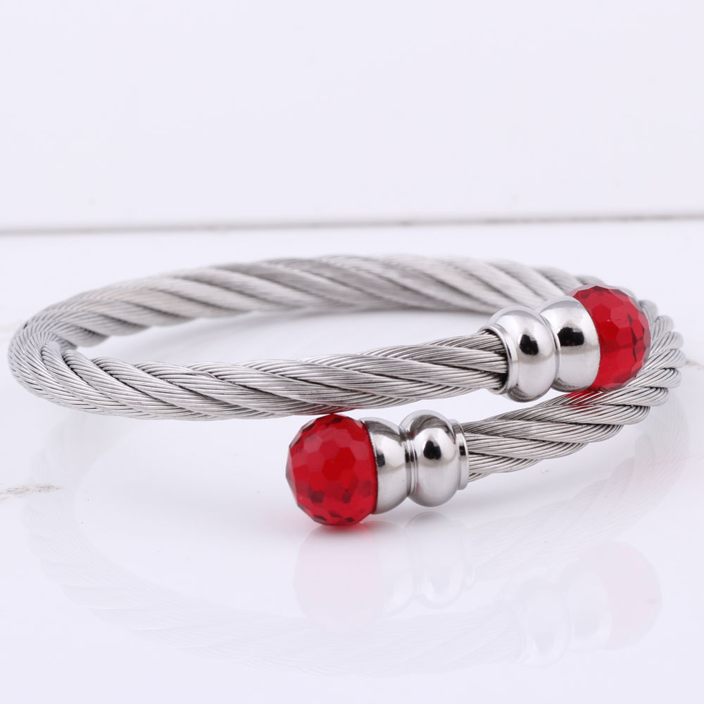Modeschmuck Frauen Open Bangle Edelstahl Twisted Cable Wire Armband - Modeschmuck - Foto 5