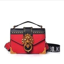 Women Fashion Metal Lion Head Mini Small Square Pack Crossbody Package Clutch Designer Wallet Handbags Bolsos Mujer Shoulder Bag