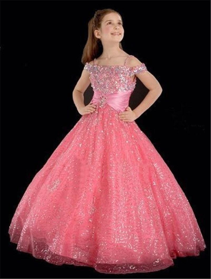 2016 New Lovely Pink   Flower     Girls     Dresses   Off Shoulder Floor Length Sequins A Line   Girls   Pageant   Dress   GL