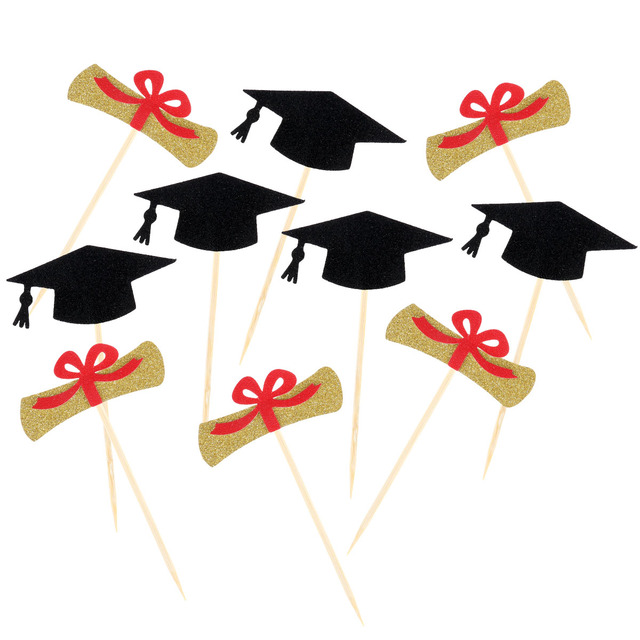 10 pcs graduation cake toppers certificate cap cupcake picks sign