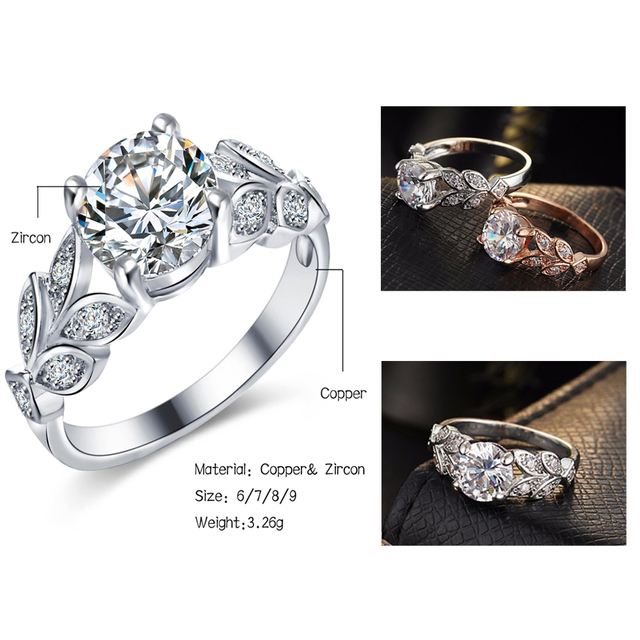 17KM Fashion Leaf Flower Wedding Rings For Women Ladys Gold Silver Color Bijoux Anel Femme Engagement Ring Crystal Jewelry 2018