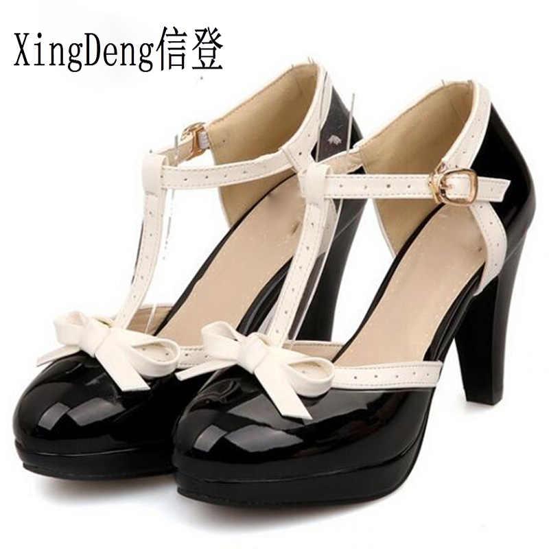 Yaz ayakkabı tatlı prenses tarzı kadın yüksek topuk pompaları kız PU Sapato PU deri ayak bileği kayışı Lolita ayakkabı boyutu 33 -48
