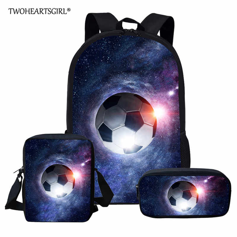 Twoheartsgirl Kids School Bags For Boys Girls Backpack Cosmos Soccer Football Shoulder Bag Primary School Children Backpacks