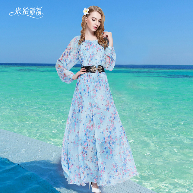 2017 Blue Floral Long Sleeved Boho Holiday Beach Oversize Maxi Dress ...