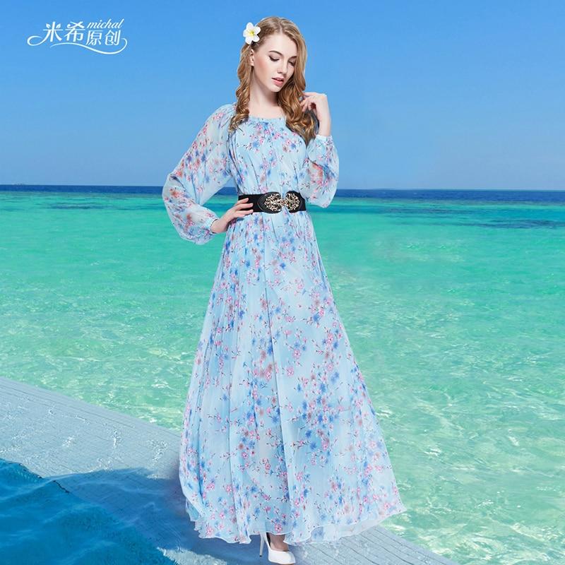 2017 blue floral long sleeved boho holiday beach oversize maxi dress lightweight wedding guest bridesmaid sundress