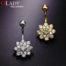 Belly Button Rings 2016 NEW Fashion Top Quality [ SPARKLING FLOWER ] Navel piercing body jewelry Sexy AAA CZ belly piercing