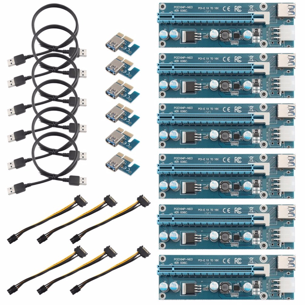 6Pack 6PIN Power Supply Interface PCI-E Extender 1X To 16X Extension Cable Extender Riser Card Adapter 6 Pin Power Cable Set new usb3 0 008s pci e riser express 1x 4x 8x 16x extender riser adapter card sata 15pin to 6pin power cable dual power interface