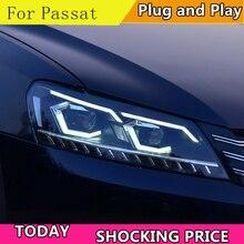 Car Styling dla VW Passat B7 US Verson 2012 2016 reflektor dla Passat B7 reflektor DRL D2H dynamiczny sygnał skrętu Hid bi xenon Beam
