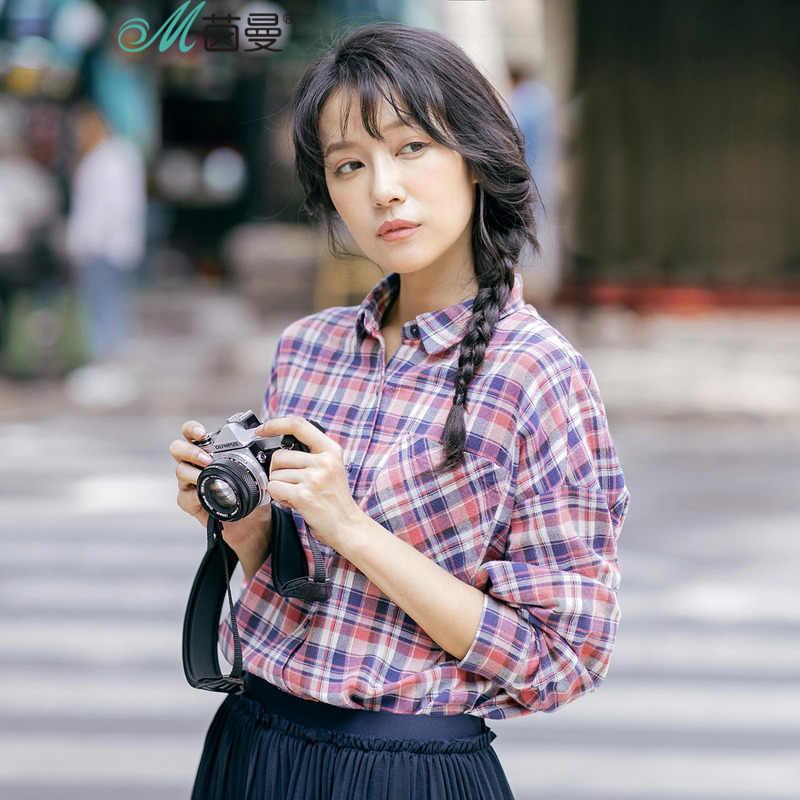 INMAN Женская Осенняя новая клетчатая хлопковая рубашка с левым плечом рубашка с длинным рукавом