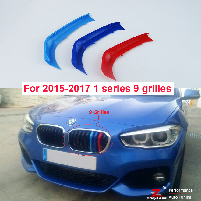 For 2015-2018 BMW 1 series F20 F21 125i M135i M140i (9 grilles) 3D M Styling Front Grille Trim Strips Cover Stickers 3d front grille trim plastic strips grill cover stickers for 2012 2014 bmw 1 series f20 f21 m sport 116i 118i 120i 125i m135i